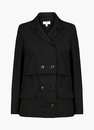 Twist Parçalı Kapama Ceket Siyah